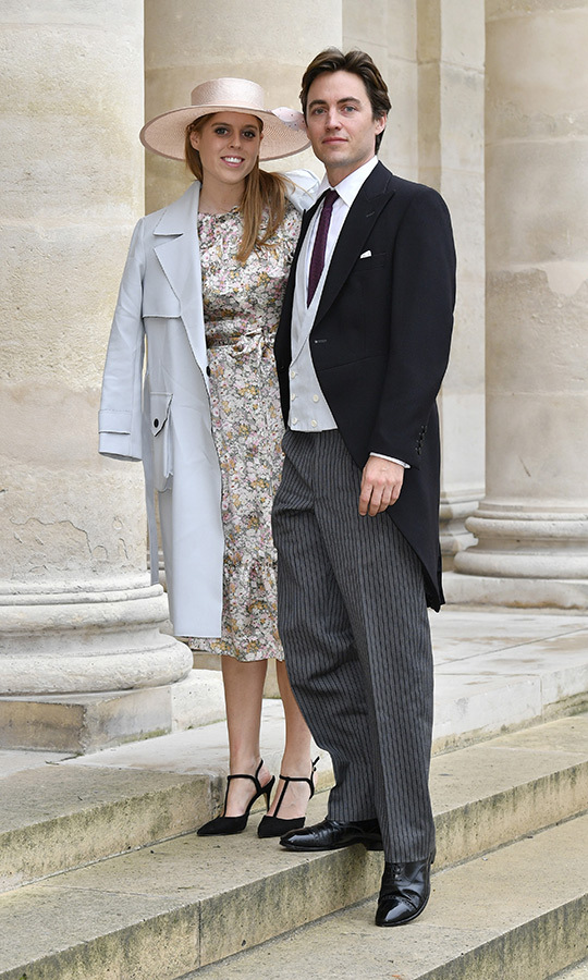"Beatrice wore a gorgeous floral silk tea dress by <strong>The Vampire's Wife</strong>, along with a pale blue <strong><a href=""/tags/0/topshop"">Topshop</a></strong> coat, black <strong>Carvela Lulu</strong> heels and a <strong>Julian Garner</strong> peach satin boater hat. 