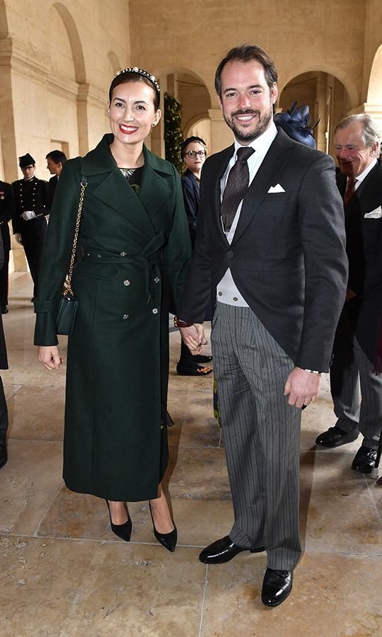 <strong>Prince Felix de Nassau</strong> of Luxembourg and his wife <strong>Claire</strong> looked a stunning pair, with claire in an emerald coat with a matching clutch and a headband that may have been a nod to the bride's own headwear. 