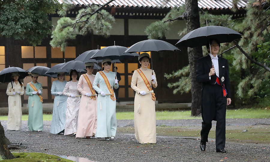"Japan's Crown Prince <strong>Akishino</strong> (right), his wife Crown Princess <strong>Kiko</strong> (second right) and other members of the imperial family arrived at the Imperial Palace sanctuaries where <strong><a href=""emperor-naruhito"">Emperor Naruhito </a></strong> was set to report the proclamation of his ascension to the throne in Tokyo on Oct. 22.