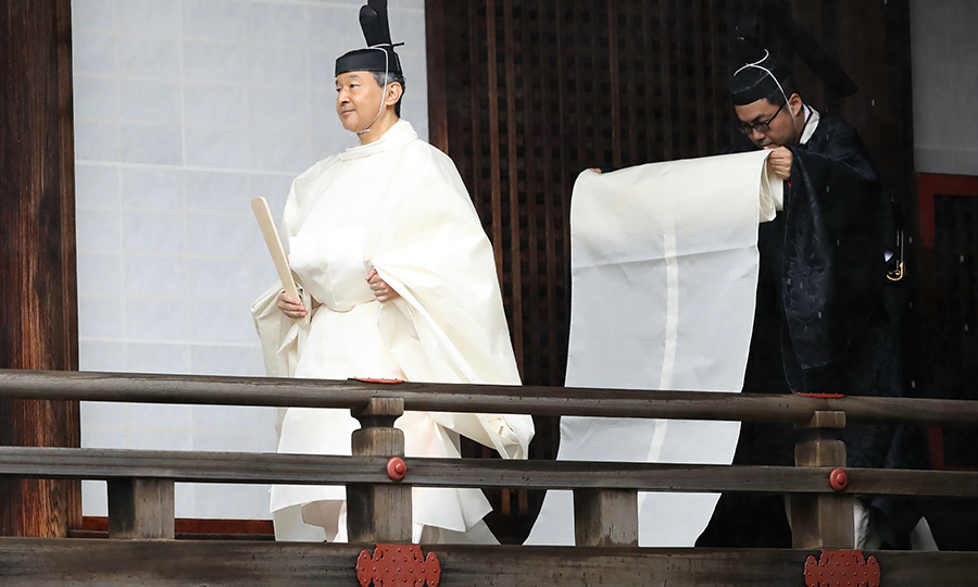 Naruhito then arrived into the Kashikodokoro sanctuary to report the proclamation of his ascension to the throne to sun goddess in the ancient royal dynasty. It is part of an ancient ritual that has taken place at the Imperial Palace in Tokyo for centuries. 