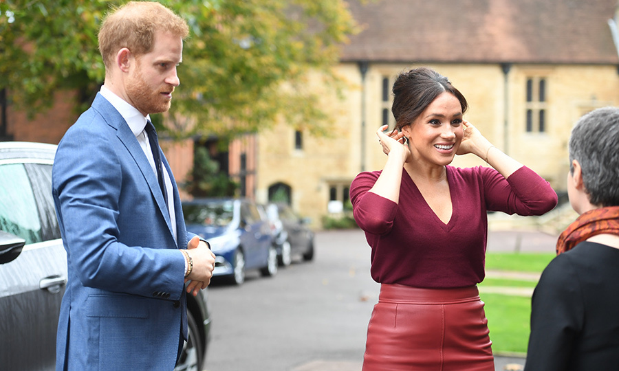 "<Strong><a href=""/tags/0/meghan-markle"">Duchess Meghan</a></strong> stepped out to Windsor Castle for a forum on gender equality as part of her work with One Young World on Oct. 25  – and she had a special guest with her: <strong><a href=""/tags/0/prince-harry"">Prince Harry</a></strong>!