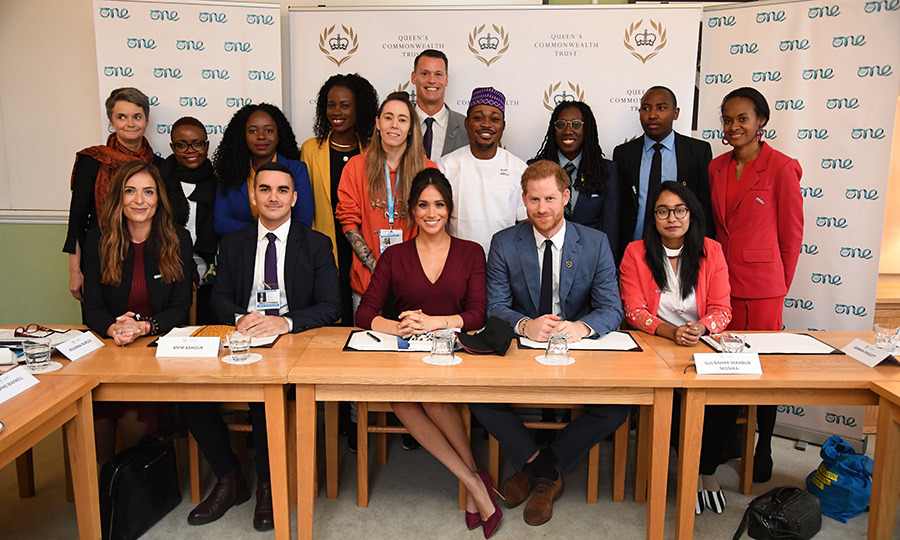 Meghan and Harry posed with the forum participants at the end of the discussion.