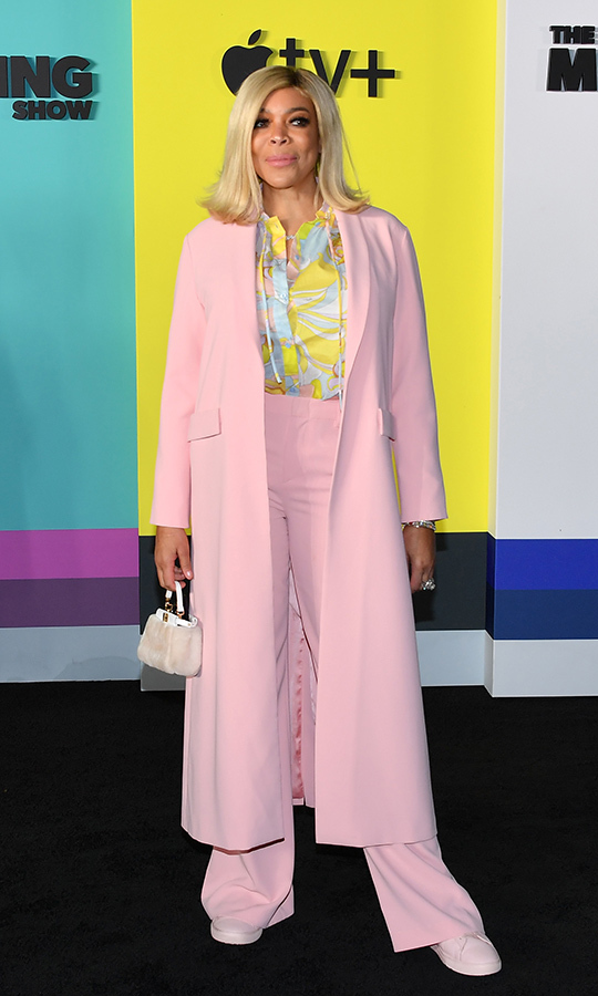 "<strong><a href=""/tags/0/wendy-williams"">Wendy Williams</strong></a> looked gorgeous in a blush jacket, matching pants and shoes and a yellow, blue and blush-patterned blouse.