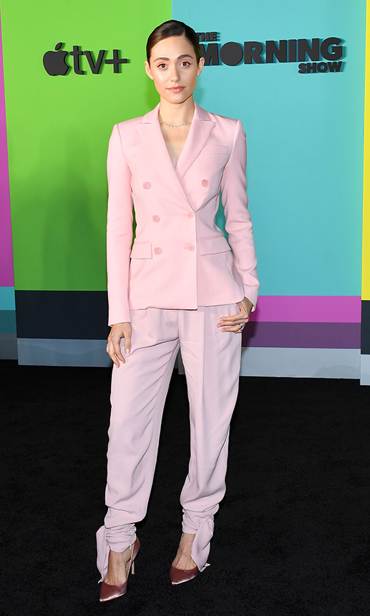 "<strong><a href=""/tags/0/emmy-rossum"">Emmy Rossum</a></strong> also chose a blush look, wearing a lovely tailored suit in the colour.