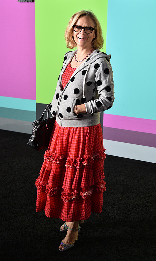 "Screenwriter and comedian <Strong><a href=""/tags/0/amy-sedaris"">Amy Sedaris</a></strong> chose a unique polka-dot hoodie and red checkered dress. 