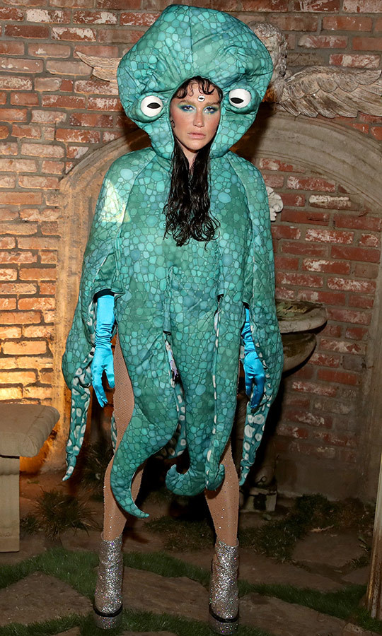 "<strong><a href=""/tags/0/kesha"">Kesha</a></strong> attended an Oct. 29 Jack Daniel's event in Los Angeles dressed as an octopus. 