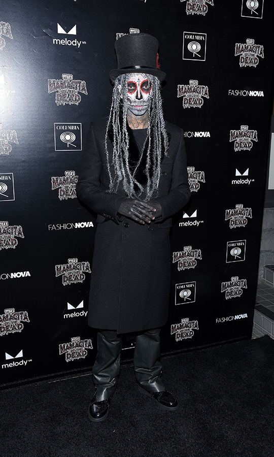 "<strong><a href=""/tags/0/tyga"">Tyga</strong></a> chose an appropriately undead look for his Mamacita of the Dead party in Los Angeles on Oct. 29. 