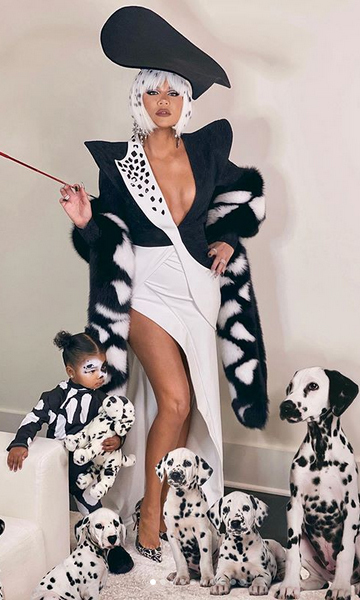 Khloe wasn't done there! She posted this sweet snap of her as Cruella DeVil and True as her little Dalmatian from <i>101 Dalmatians</i>.