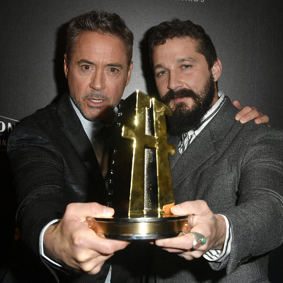 "<strong><a href=""/tags/0/robert-downey-jr"">Robert Downey, Jr.</strong></a> and Shia posed with his award, which Robert presented to the <i>Honey Boy</i> screenwriter. 