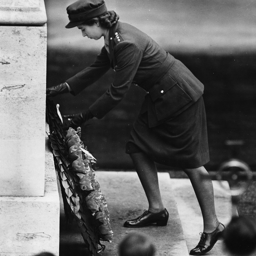 The Queen lays a wreath on the Cenotaph at Whitehall in 1947. 