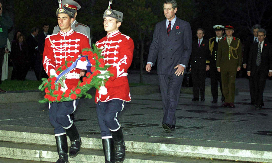 Prince Charles at a Remembrance Day wreath laying ceremony at a U.K.-run regional training centre for the Ministry of Defence in Bulgaria in 1998.