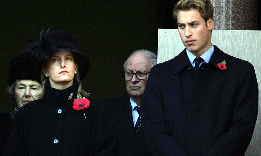 Sophie, Countess of Wessex and Prince William watch the Remembrance Sunday parade in London in November 2004.