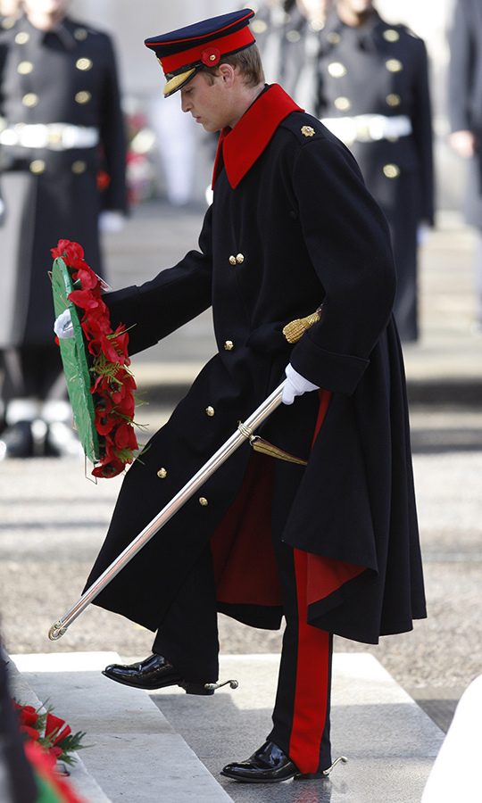 The Duke of Cambridge lays a wreath at the Cenotaph in London in 2007. 