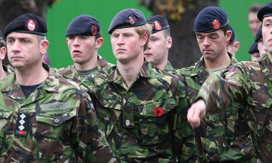 Prince Harry and fellow servicemen paying their respects during a Remembrance Service in Windsor in 2007.