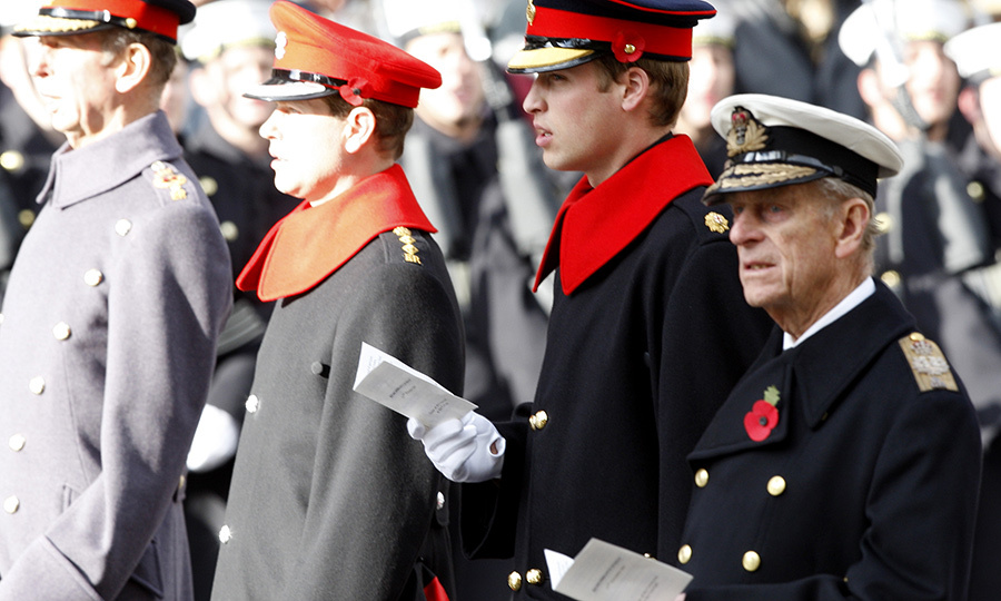 The Duke of Kent, Prince Edward, Prince William and Prince Philip during a ceremony at The Cenotaph in London in 2007.
