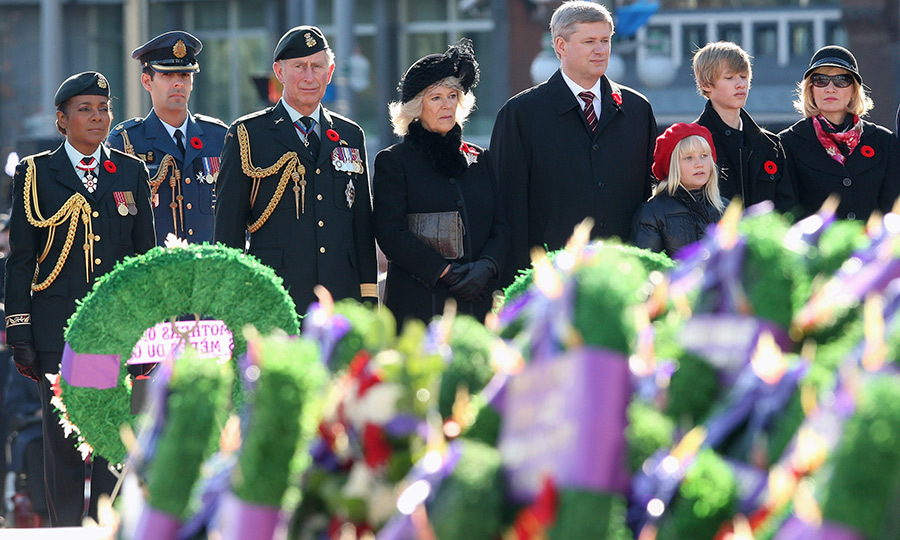 Prince Charles and Duchess Camilla with Canada's then Governor General <strong>Michaëlle Jean</strong> (left) and then-Prime Minister <strong>Stephen Harper</strong> at Remembrance Day Service at the National War Memorial in Ottawa on Nov. 11, 2009.