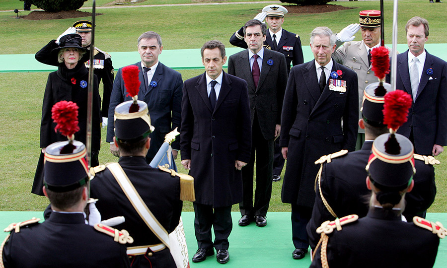 (L-R) Then Australian Governor General Lady <strong>Quentin Bryce</strong>, German Bundesrat President <strong>Peter Mueller</strong>, French President <strong>Nicolas Sarkozy</strong>, French Prime Minister <strong>Francois Fillon</strong>, Prince Charles and Luxembourg <strong>Grand Duc Henri</strong> stand at the Memorial of Douaumont near Verdun in eastern France during a ceremony commemorating the end of World War I on Nov. 11, 2008. 