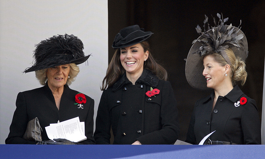 The Duchess of Cornwall, Duchess Kate and the Countess of Wessex attend the Remembrance Day ceremony in London in 2011.