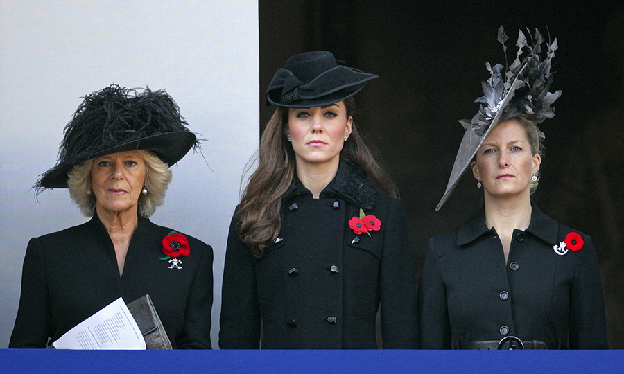 The women paid their respects during the ceremony at the Cenotaph.