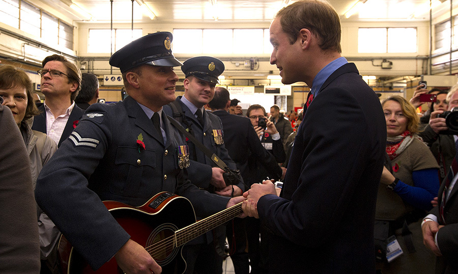 The Duke of Cambridge met with one person from the Royal British Legion's London Poppy Day Appeal who brought their guitar to the palace.