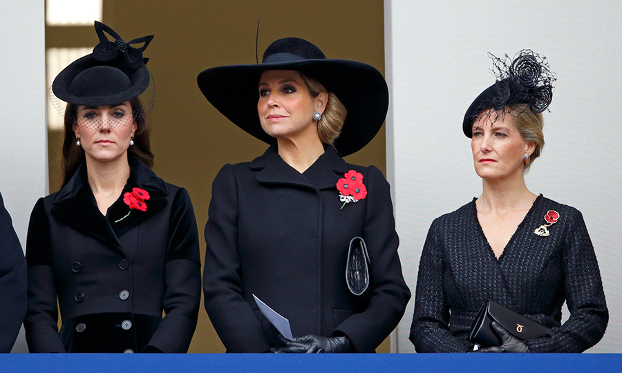 Duchess Kate, <a href=/tags/0/queen-maxima><strong>Queen Máxima</strong></a> of the Netherlands and Sophie, Countess of Wessex attend the annual Remembrance Sunday service at the Cenotaph on Whitehall in 2015.