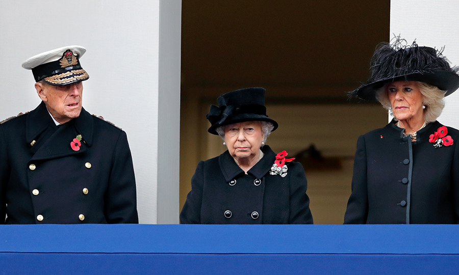 Prince Philip, Her Majesty and Duchess Camilla stand on the balcony at the annual Remembrance Sunday service at the Cenotaph in London in 2017.