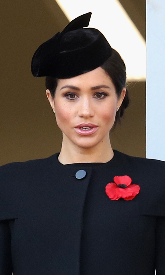On Nov. 11, 2018, Duchess Meghan pays her respects during the Remembrance Day service. 