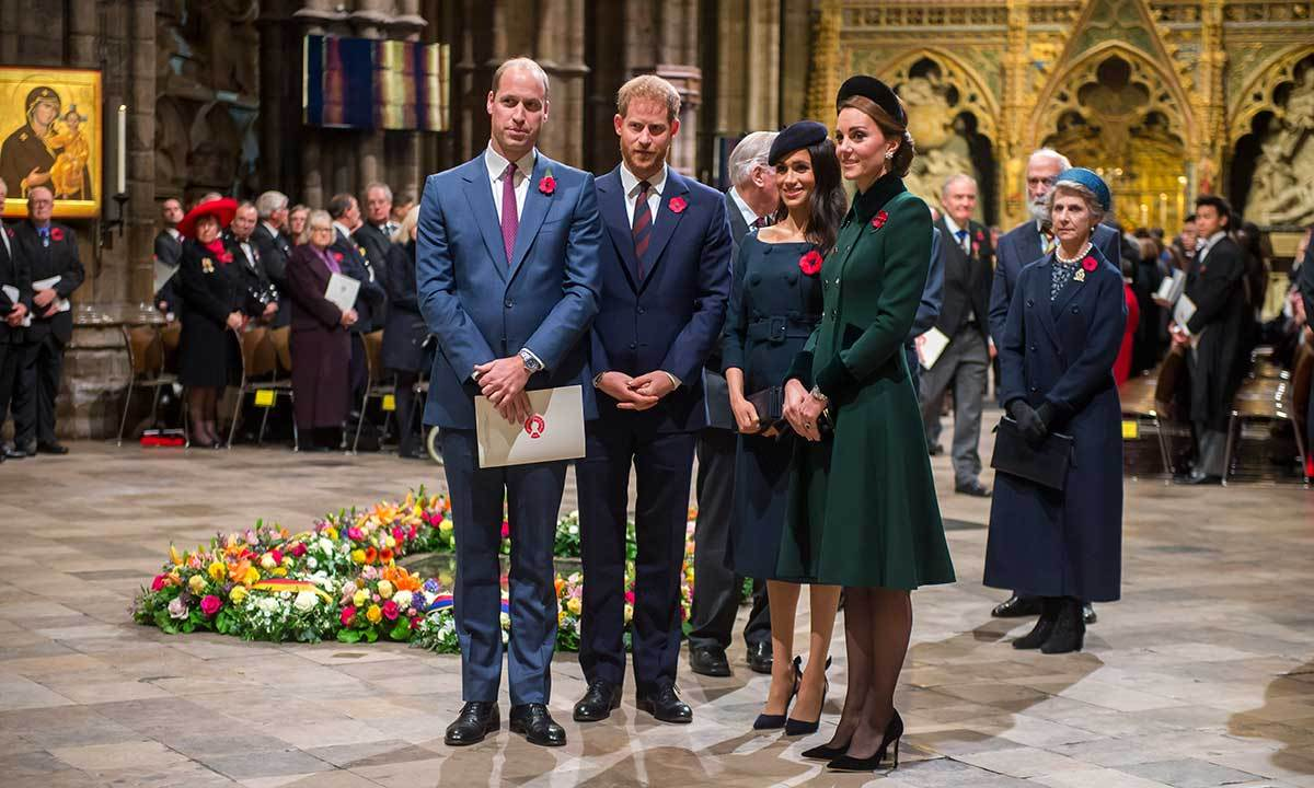 The Fab Four, Prince William, Prince Harry, Duchess Meghan and Duchess Kate, reunite to attend a service at Westminster Abbey to mark the centenary of the Armistice on Nov. 11, 2018.