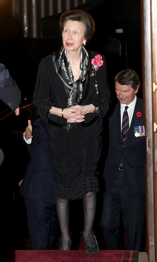 "<strong><a href=""/tags/0/princess-anne"">Princess Anne</a></strong> added a black-and-white floral scarf to her outfit, and came wearing three poppies. 