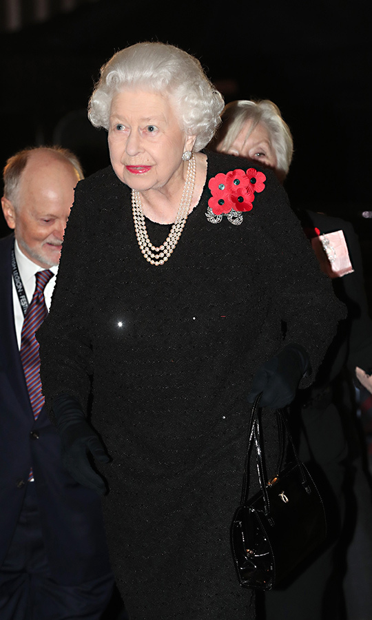 Her Majesty looked elegant as ever in her outfit, which she accessorized with a pearl necklace. She also wore five poppies.