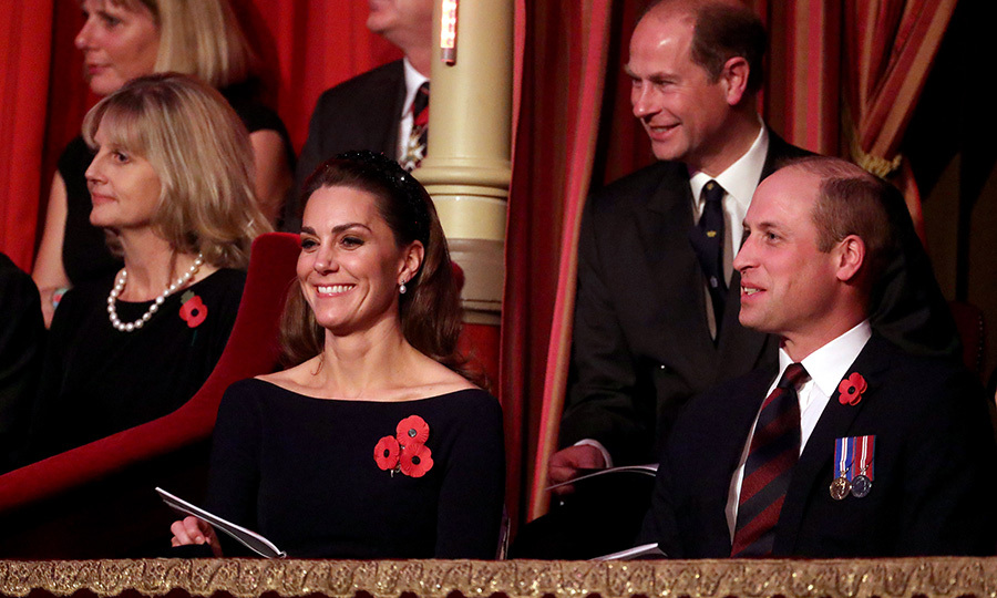 Despite the solemnity of the event, the Cambridges (and the Earl of Wessex behind them) managed to get some smiles in.