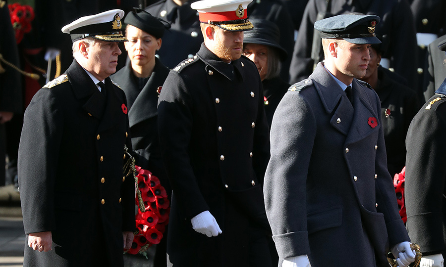 Prince Harry and Prince William took part in the wreath-laying portion of the ceremony on the street. 