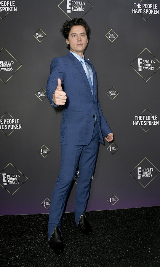 "<strong><A href=""/tags/0/cole-sprouse"">Cole Sprouse</a></strong> chose an all-blue combo, with a shirt and tie meant to look like dreamy clouds. 
