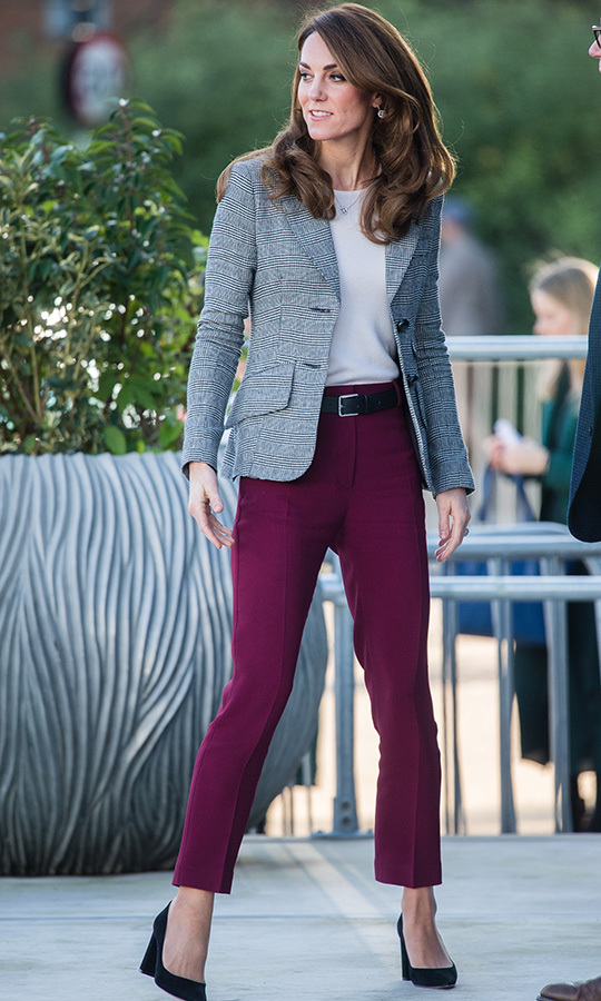 As always, Kate looked incredible when she arrived, wearing a grey check blazer from <Strong><a href=/tags/0/smythe>Smythe</a></strong>, burgundy pants from <strong><A href=/tags/0/joseph>Joseph</a></strong> and  black suede <strong><a href=/tags/0/gianvito-rossi>Gianvito Rossi</a></strong> heels. We love seeing the royals wearing Canadian designers and they certainly love Smythe! 