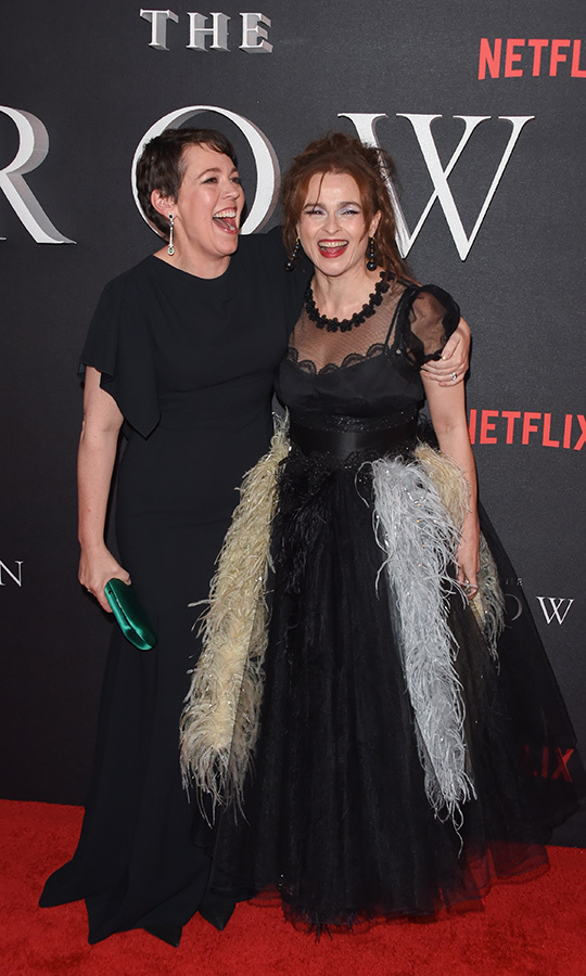 Olivia and Helena hammed it up on the red carpet inside. 