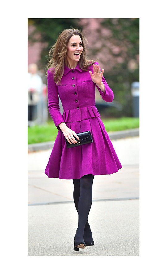 "Kate looked gorgeous as she arrived at the hospice, wearing a fuscia <strong><a href=""/tags/0/oscar-de-la-renta"">Oscar de la Renta</a></strong> suit dress, which we last saw her wearing in January when she stepped out to the Royal Opera House in London. She paired her look with black <Strong><a href=""/tags/0/giuseppe-zanotti"">Giuseppe Zanotti</a></strong> heels and carried a black <strong><a href=""/tags/0/aspinal"">Aspinal</a></strong> clutch. 