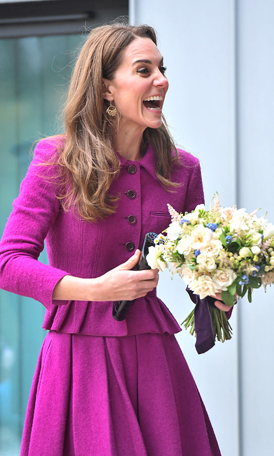 Kate was given a beautiful bouquet as she greeted the hospice staff, and got in a good laugh when someone said something very amusing.