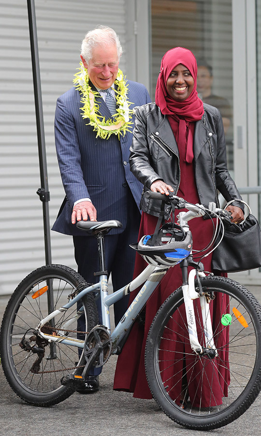 He was fascinated with this woman's bicycle!