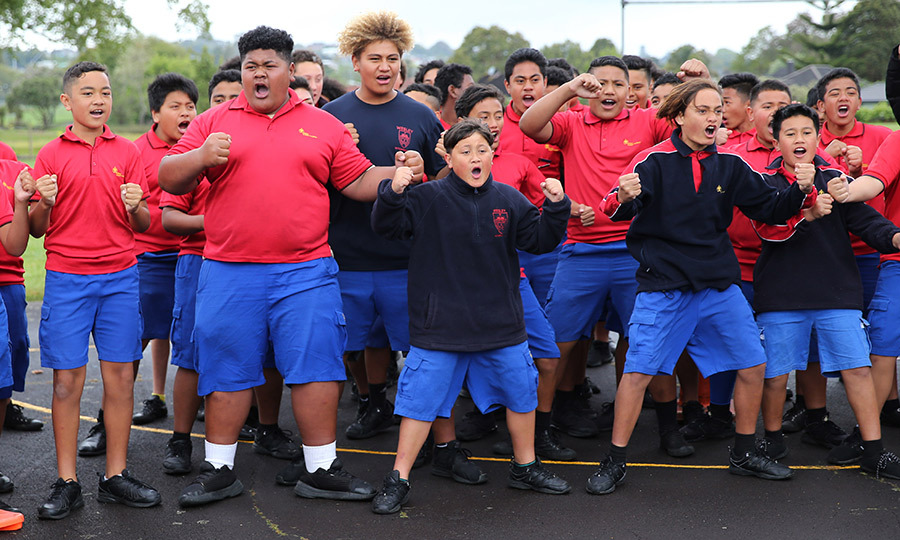 Students performed a traditional haka for him as he arrived.