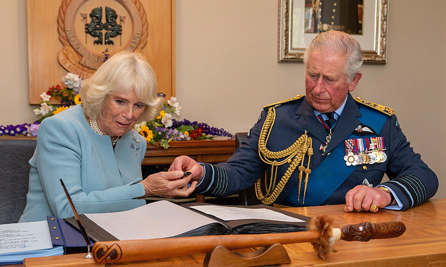 The couple signed the official guestbook while there.