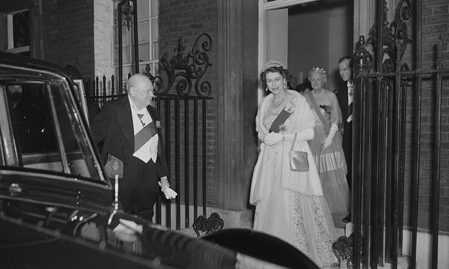 1955 saw the resignation of <strong>Winston Churchill</strong> as prime minister. The Queen and Philip thanked him and <strong>Clementine Spencer-Churchill </strong>by attending a dinner at the UK prime minister's residence at 10 Downing Street. 