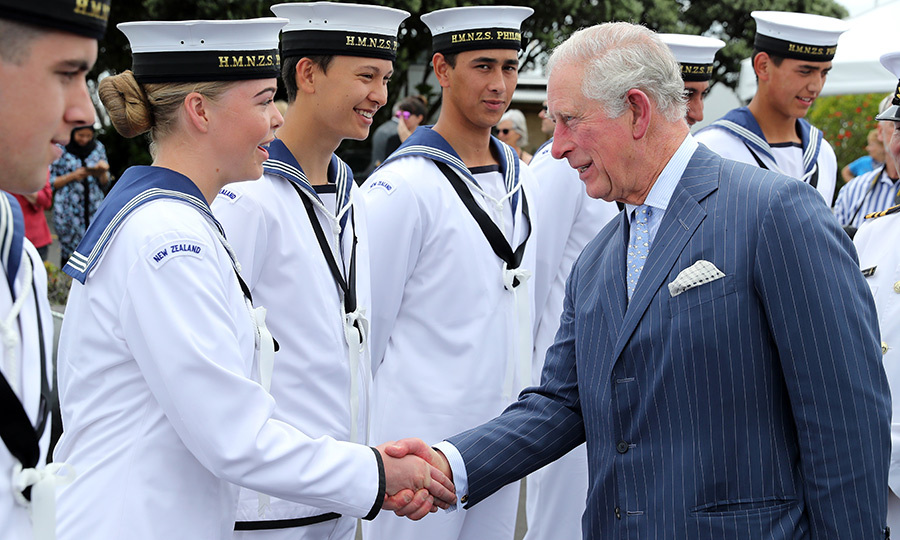 The Prince of Wales then headed to Auckland Marina, where he met with sailors from the HMNZS Philomel.
