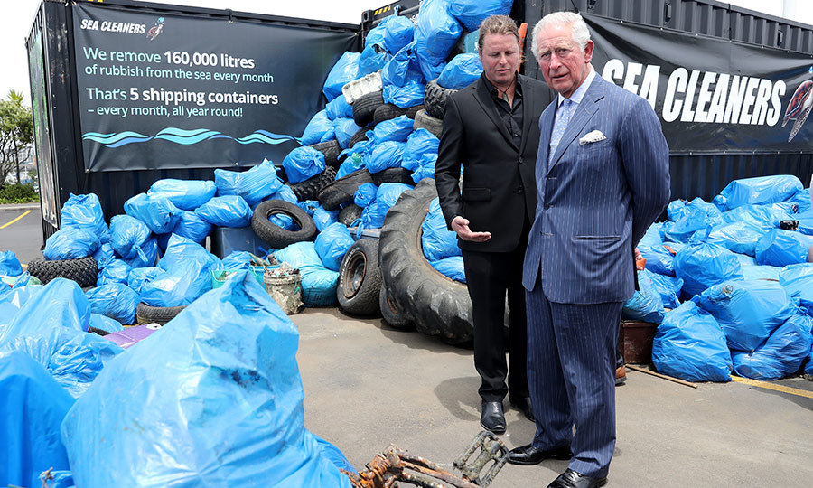 Charles also spoke with representatives from Sea Cleaners, a conservation agency that works hard to keep New Zealand's waters and coastline clean. Every month, they remove five shipping containers worth of garbage from the country's waters.