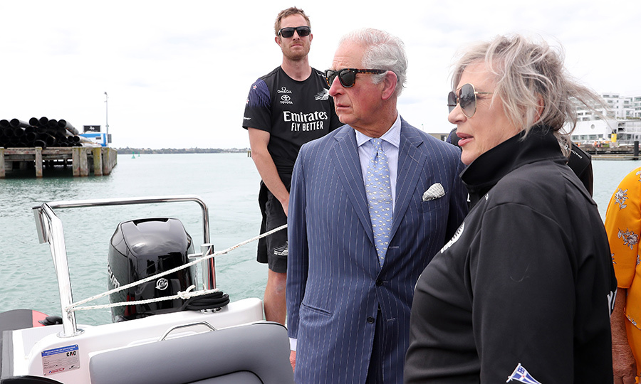 From there, Charles took a boat trip to Viaduct Harbour with the Emirates New Zealand America's Cup team.