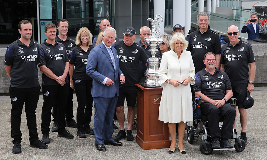The Duke and Duchess of Cornwall also posed for a photo with the team. The next America's Cup will be held in 2021 in Auckland, and New Zealand will be challenged by Italy.