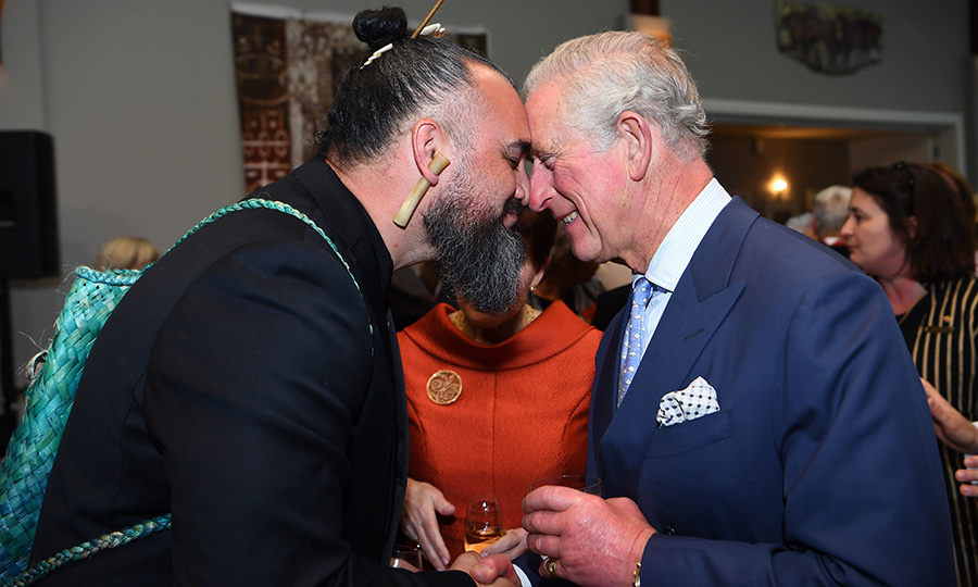 Charles and Camilla's day ended with a special reception held at Government House by New Zealand Governor-General Dame <Strong>Patsy Reddy</strong>. The prince received a hongi as he arrived. 