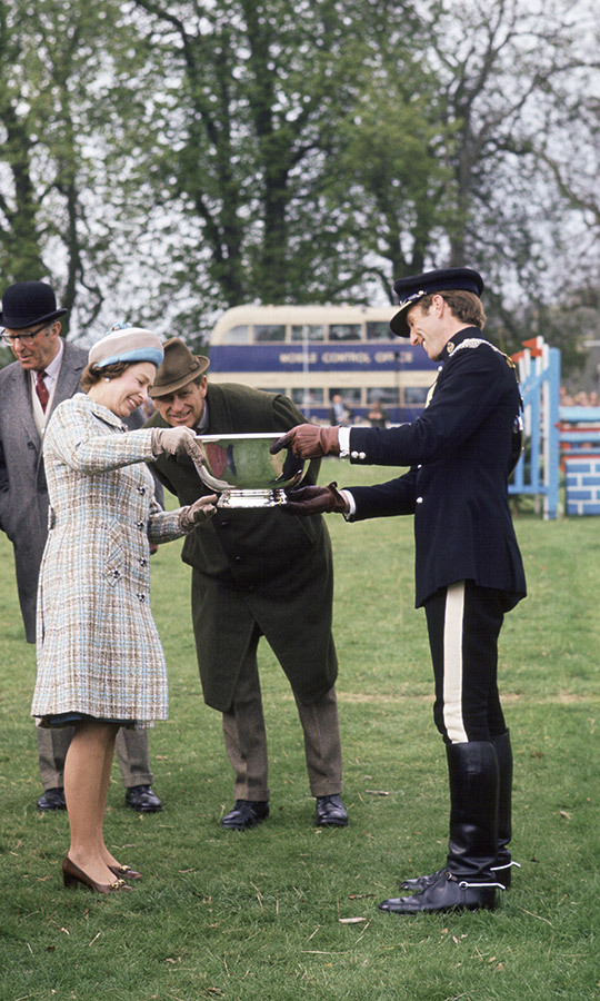 The couple shared a happy moment with their son-in-law, who won the Crookham Horse Trials. 