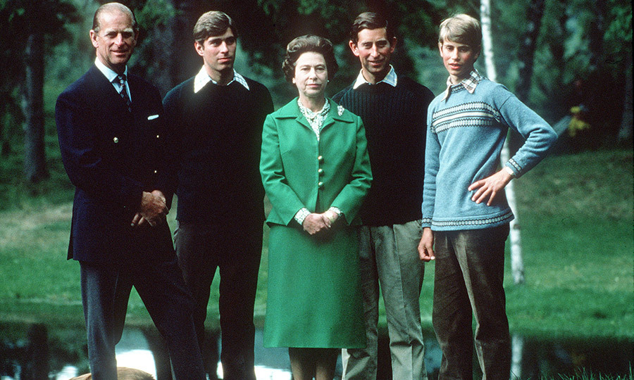 The proud parents posed with their sons, Andrew, Charles and Edward, in Scotland in 1975.