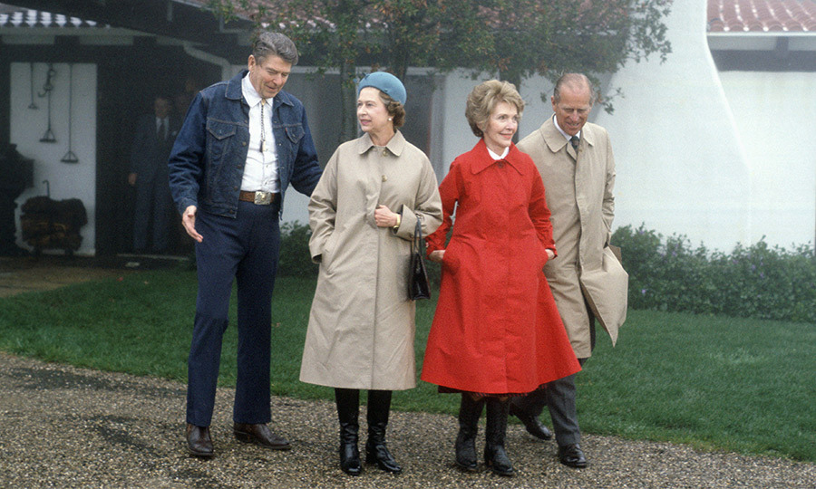 On a state visit to the United States in 1983, the Queen and Philip visited US President <strong>Ronald Reagan</strong> and First Lady <strong>Nancy Reagan</strong> at their Rancho Del Cielo near Santa Barbara, Calif.