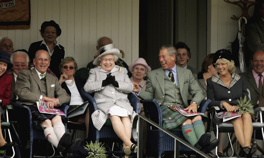 "Look how happy they all are! Philip, the Queen, Charles and <strong><a href=""/tags/0/camilla-parker-bowles"">Duchess Camilla</a></strong> enjoyed a laugh at the Highland gathering in 2006. 